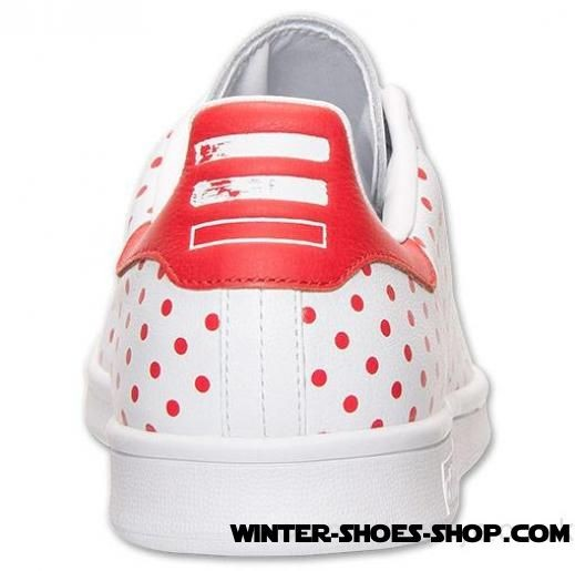 Best Sale US Men's Adidas Pharrell Williams Stan Smith Polka Dot Casual Shoes White/Red Online - Best Sale US Men's Adidas Pharrell Williams Stan Smith Polka Dot Casual Shoes White/Red Online-01-1