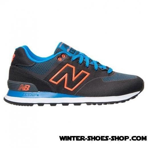 watch 3d0bf a002c Fascinating Model US Men's New Balance 574 Woven Casual Shoes  Black/Orange/Blue Cheap Sale