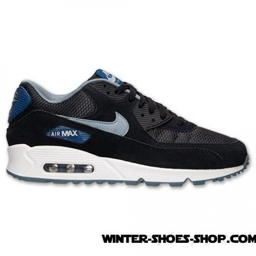 promo code ce63a 91ee9 Exclusive Design US Men's Nike Air Max 90 Essential Running Shoes  Black/Dark Grey/Gym Blue For Sale Online