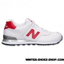 Superior Style US Men's New Balance 574 Leather Casual Shoes White/Red Offer-20