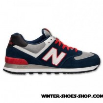 Special Price US Men's New Balance 574 Suede Casual Shoes Navy/Red/Grey Factory Outlet-20