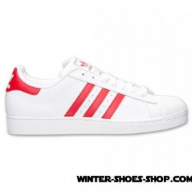 Shopping Model US Men's Adidas Superstar Casual Shoes White/Scarlet Retail