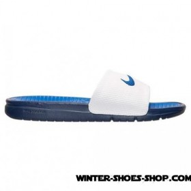 Special Offer For New Clients US Men's Nike Benassi Solarsoft Slide Sandals Midnight Navy/Game Royal/White Free Shipping