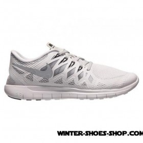 2017 New Arrival US Men's Nike Free 5.0 2014 Running Shoes White/Metallic Silver/Wolf Grey Sale Online 2017