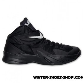 Limited Edition US Men's Nike Zoom Lebron Soldier 8 Basketball Shoes Black/Metallic Silver Cheap Sale