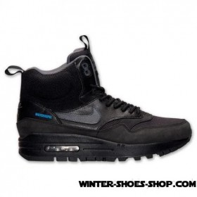 Special Offer For New Clients US Women's Nike Air Max 1 Mid Sneakerboot Black/Dark Grey/Metallic Silver Clearance Online