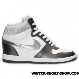 Radiant Model US Women's Nike Force Sky High Casual Shoes White/Metallic Silver/Dark Grey Store Online