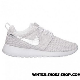 Fashionable US Women's Nike Roshe Run Casual Shoes White/Metallic Platinum Clearance Sale