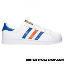 Less Expensive US Men's Adidas Superstar East River Casual Shoes White/Bold Blue/Metallic Gold Supplier-20