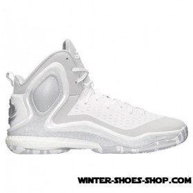 Clearance Sale US Men's Adidas D Rose 5 Boost Basketball Shoes White/Light Onyx/White Outlet Online