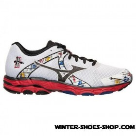 Cheap Online US Men's Mizuno Wave Inspire 10 Wide Running Shoes White/Black/Red/Multi For Sales
