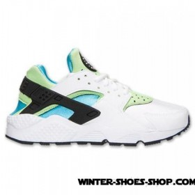 Hot-Selling US Women's Nike Air Huarache Run Running Shoes White/Clearwater/Flash Lime Sale Outlet